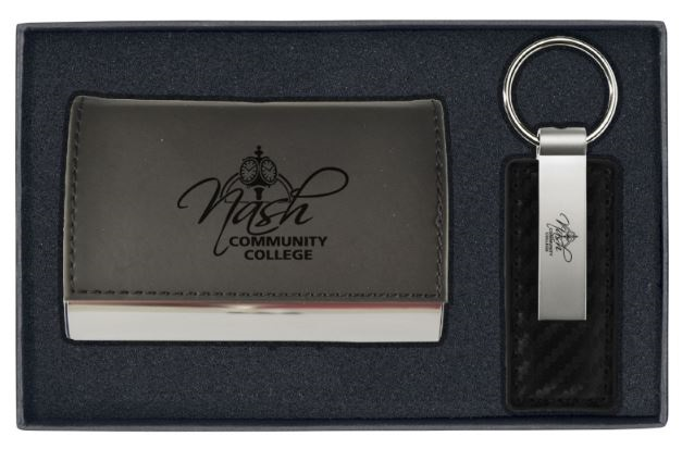 Ncc Business Card Holder And Leather Keychain Blk Nash Community